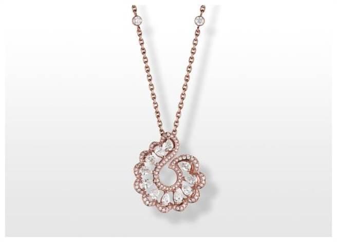 蕭邦Precious Lace蕾絲珠寶項鍊,以鑽石呼應蕾絲之美。(CHOPARD提供)