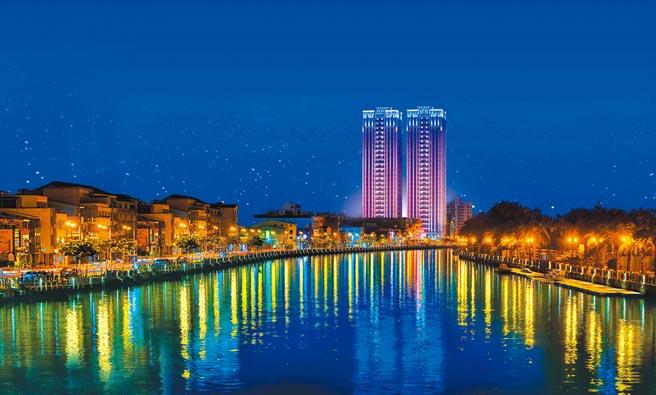 台南市中西區「寶贊建設 福容ONE」外觀夜景。圖/麗寶集團提供