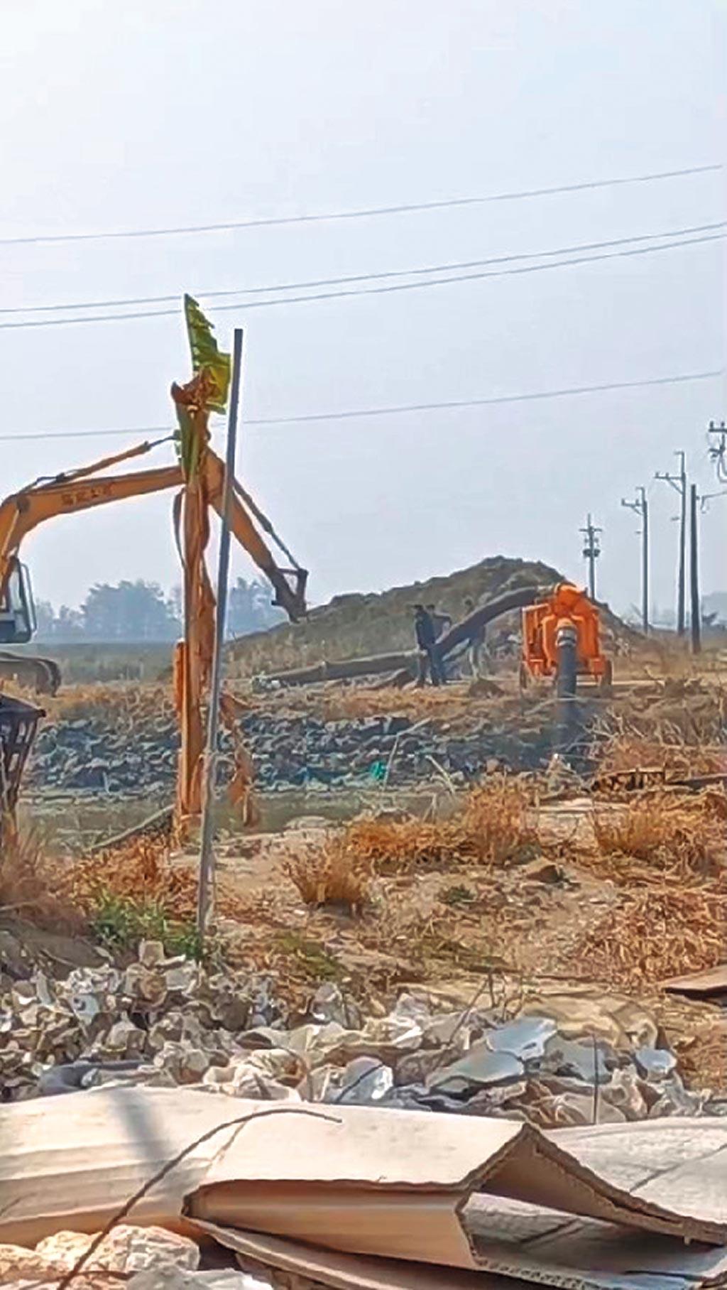近日已有大型機具進入開挖。(台南市環保聯盟提供/程炳璋台南傳真)