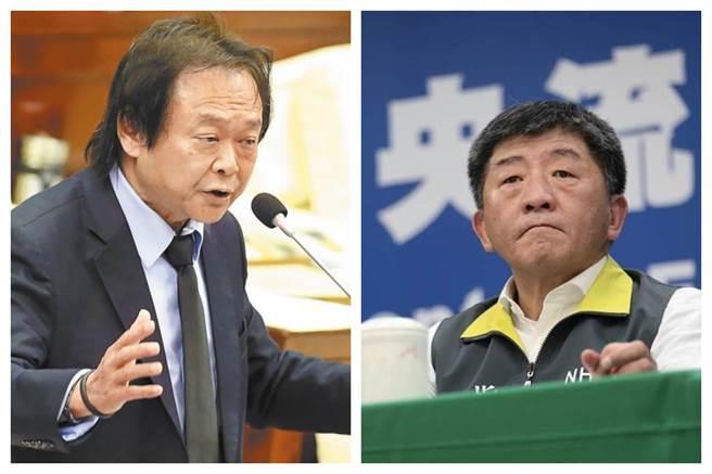 台北市議員王世堅(左)和衛福部長陳時中(右)。(圖為中時資料照)
