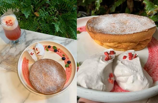 迷人的奶香鬆餅搭配粉紅莓果櫻花鮮奶油,酸甜口感超療癒。(圖/楊婕安攝)