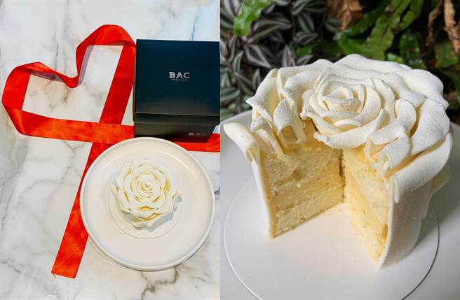 以白色巧克力捏製而成白玫瑰花瓣,一瓣一瓣綴上鬆軟香草蛋糕,堪稱告白最佳神器。(圖/楊婕安攝)
