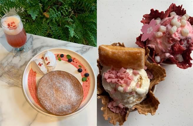 在春暖花開的時節,每個人都想來一場櫻花之旅,人氣網美餐酒館微兜及COLD STONE就推出櫻花系列鬆餅及冰淇淋來搶攻少女心。(圖/楊婕安攝)