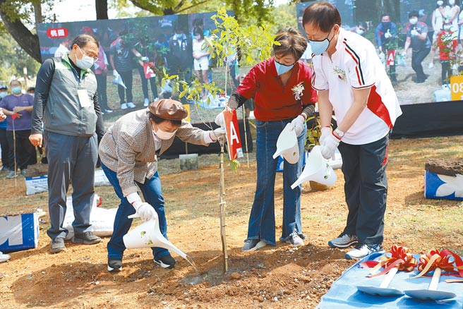 台中市長盧秀燕(左二)12日攜手台積電,在后里森林園區種下希望樹苗。(陳淑娥攝)