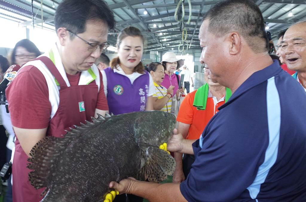 民進黨立委邱志偉(左)關心北高雄石斑養殖產業。(邱志偉服務處提供/林瑞益高雄傳真)