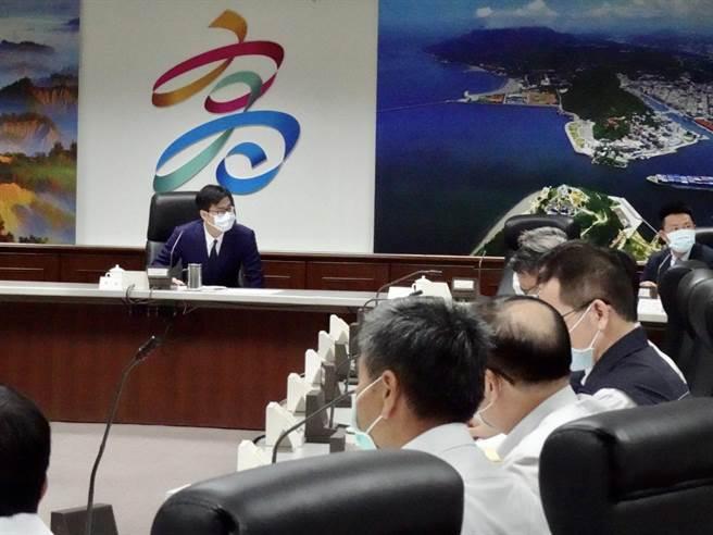 高雄市長陳其邁15日主持治安會報。(林宏聰攝)