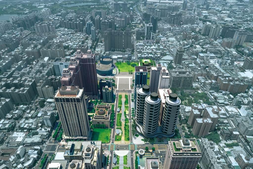 桃園藝文特區,豪宅林立,商圈、綠意並存,吸引台北高端退休族購屋。(業者提供)