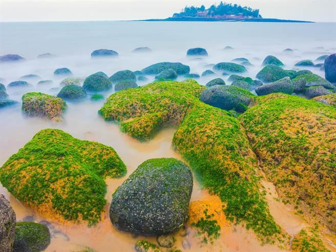 春潮妝點的綠石槽,是小金門離島的季節限定版美景。(縣府觀光處提供)