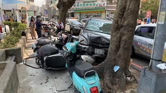 疑失控連撞1車8機車 台中76歲駕駛老翁受驚