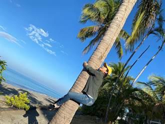王彩樺屏東拍戲嗨爬椰子樹 扛行李箱重到手瘀青