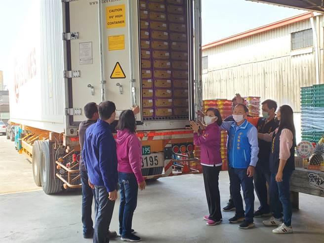 貨櫃也是冷鏈體系之一,全程低溫冷藏,使鳳梨冬眠延長賞味期,這次出口的是40呎貨櫃,比小三通規模還大。(周麗蘭攝)