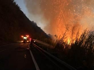 阿里山達邦公路林班地大火延燒 公路單線雙向管制通行