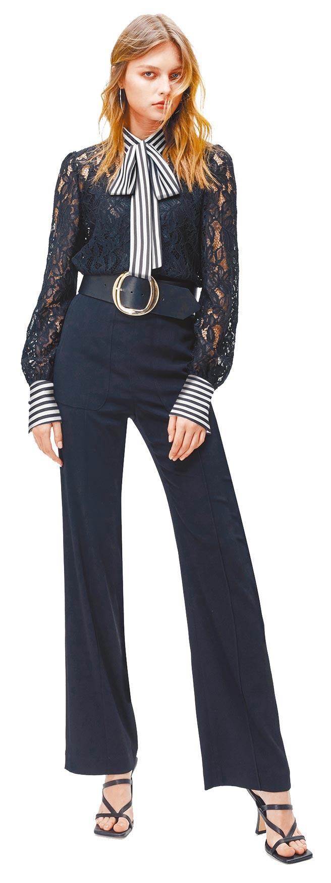 SOGO復興館KAO MEIFEN高美芬蕾絲上衣1萬4980元、經典套裝褲8980元。(SOGO提供)