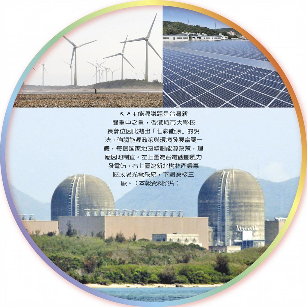 能源議題是台灣新聞重中之重,香港城市大學校長郭位因此拋出「七彩能源」的說法,強調能源政策與環境發展當屬一體,每個國家地區擘劃能源政策,理應因地制宜。左上圖為台電觀園風力發電站,右上圖為新北樹林產業專區太陽光電系統,下圖為核三廠。(本報資料照片)