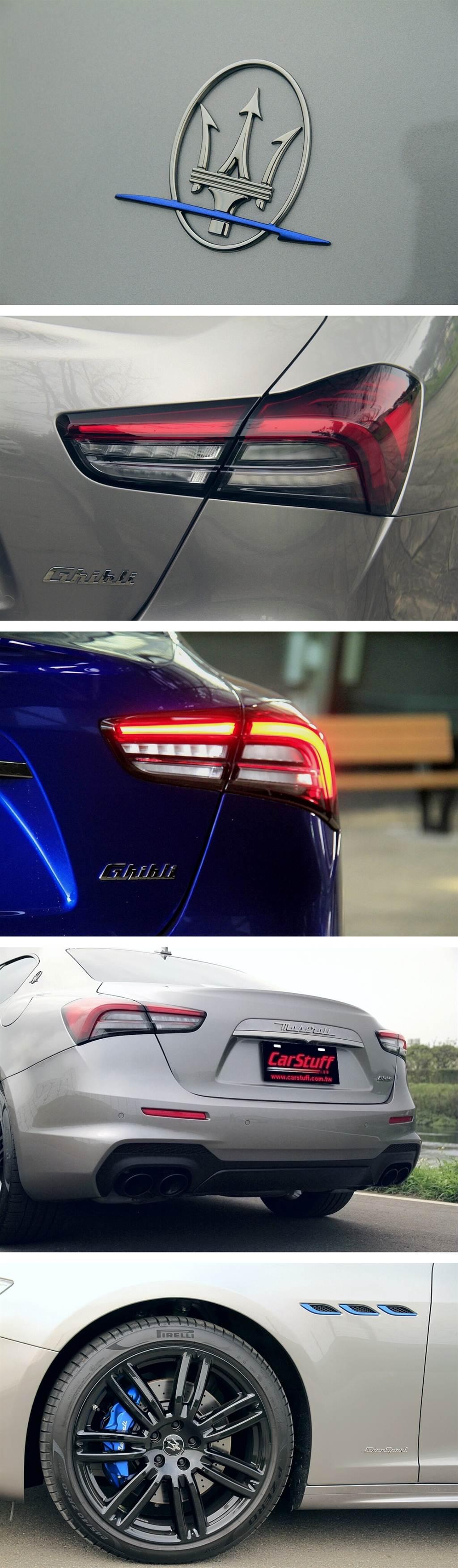 Ghibli MHEV GranSport車型其中一個既美觀又實用的亮點:前六活塞/後四活塞卡鉗的高性能版煞車系統,並且配置前360mm/後345mm打孔通風碟盤,制動反應相當犀利應付330匹動力非常夠用,但來令片材質的金屬含量可能高了些,煞停前不免有些銳利的聲響發出。