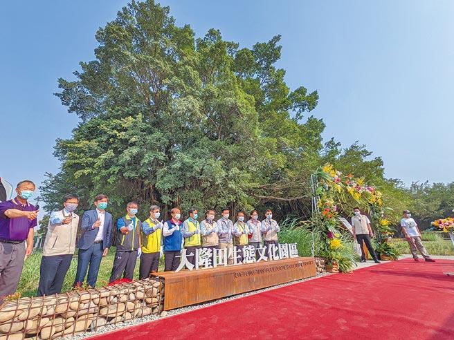 台南市官田區公所將閒置荒廢近20年的陸軍營區整建,打造成占地10公頃的大隆田文化生態園區,千餘棵樹木保留,穿插步道、溝渠、生態池等,市長黃偉哲大讚是「台南的大安森林公園」。(莊曜聰攝)