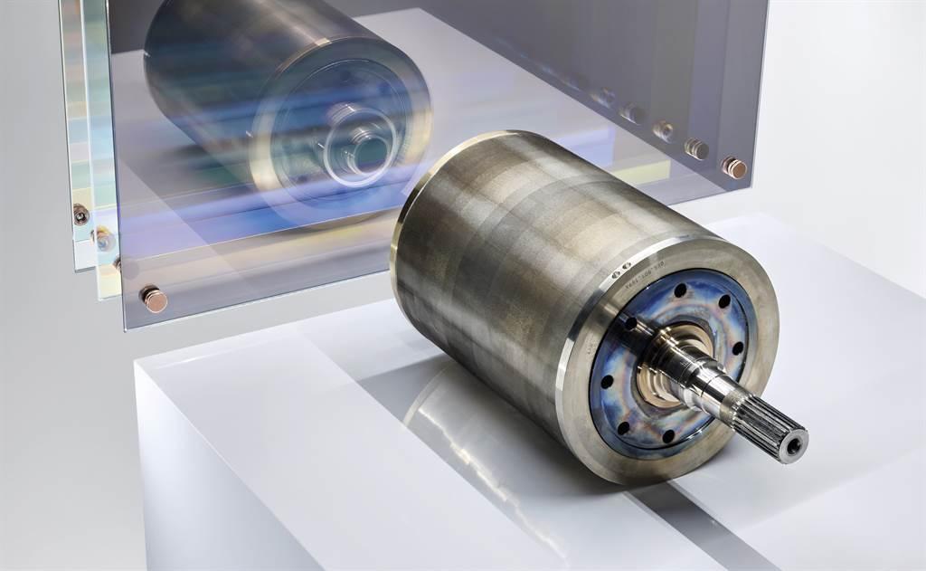 飛輪結構:轉子內填滿了呈 V 形排列的永久磁鐵。