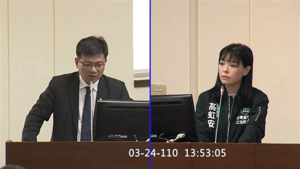 經濟部次長曾文生(左)、民眾黨立委高虹安(右)。(圖/翻攝自立法院官方網站)