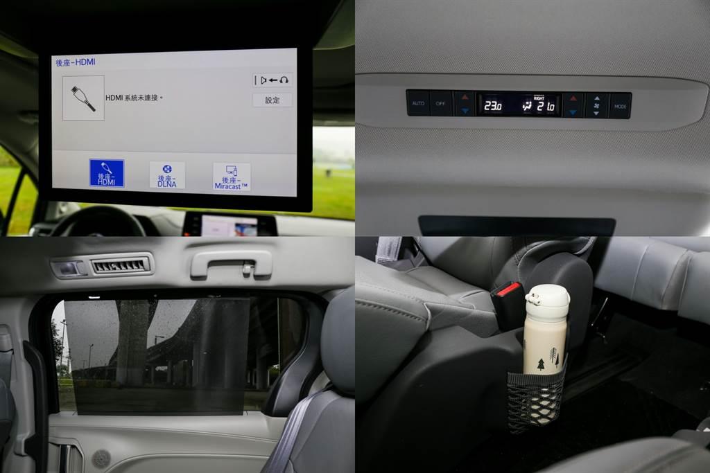 後座機能豐富,提供11.6吋螢幕、後座雙區空調(前座亦為雙區,全車共四區)。