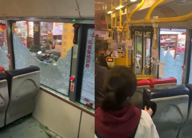 一位女網友23日乘坐到一輛紅27公車,車上玻璃意外碎光,駕駛卻未緊急做處置。圖為合成圖,左圖可見大片車窗碎成蜘蛛網,右圖則為乘客紛紛站在公車左側避難。(翻攝臉書社團《爆料公社》)
