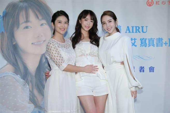 卓君澤(左起)、艾璐與朱琦郁開心同框。(羅永銘攝)