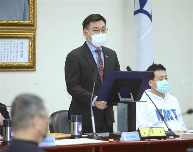 国民党主席江启臣今天下午主持中常会。(陈怡诚摄)