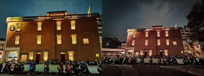 realme X50夜間廣角與超廣角相機對比。(黃慧雯攝)