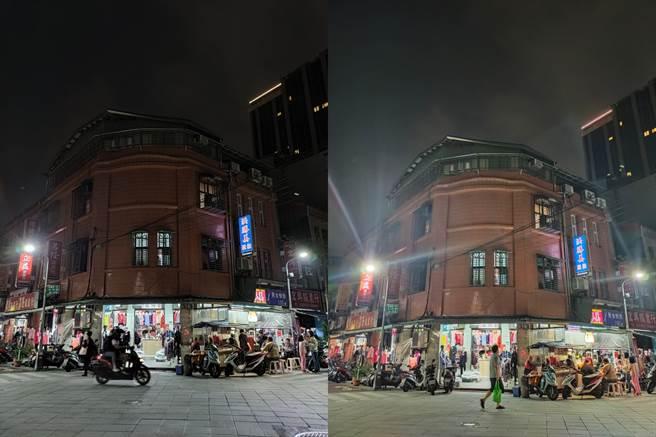 ROG Phone 5(左)與realme X50夜拍對比圖(2)。(黃慧雯攝)