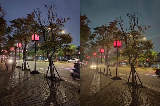 ROG Phone 5(左)與realme X50夜拍對比圖(3)。(黃慧雯攝)
