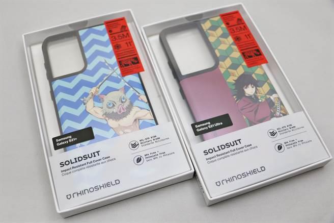 犀牛盾x《鬼滅之刃》聯名的手機殼,可適用於多品牌手機(三星品牌手機)。(黃慧雯攝)