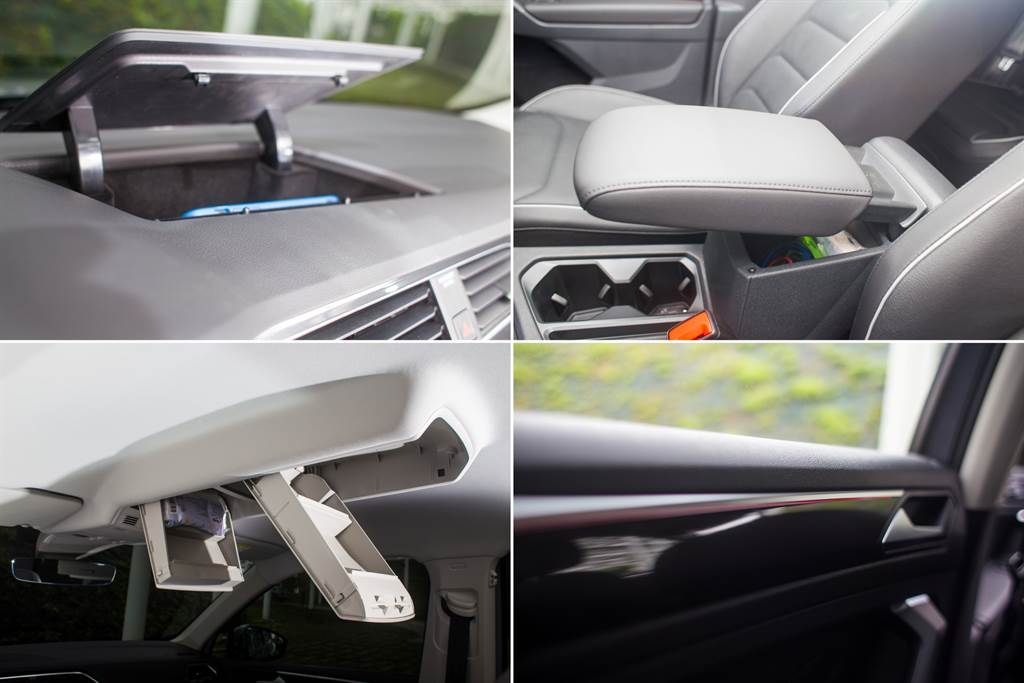 車內收納空間相當多元,除了手套箱具備保冷功能,中控台、頂篷均提供置物空間,中央鞍座的置物盒除了置物之外,盒蓋同時也是可前後、上下調整的扶手,另外全車系標配30色車室氛圍燈,可手動調整也能隨駕駛模式自動變化。(陳彥文攝)