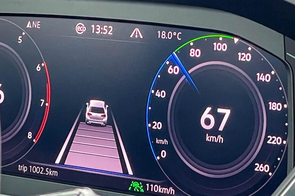 儀表板上顯示Eco表示ACT汽缸休止系統啟動,其可在轉速1400~4000rpm、時速130km/h以下且動力需求較小的情況(如定速或滑行),將第2、3缸關閉,僅留下第1、4缸運作,可提升約10%引擎燃燒效率,每100km節省約0.4L燃油。(陳彥文攝)