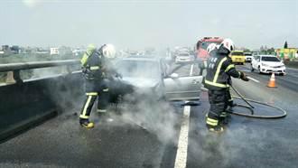 國2火燒車 消防4分鐘內撲滅、無人傷亡