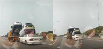 西濱玩命拖吊車 4輛車疊疊樂高度驚人 駕駛怕爆