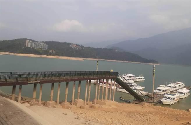 日月潭水位持續下降,下月起將暫時封閉朝霧及玄光寺碼頭。(潭管處提供)