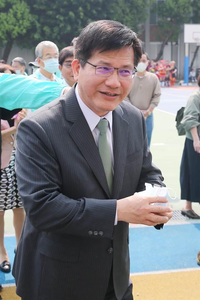 交通部長林佳龍今日出席海科大55周年校慶。(杜宜諳攝)
