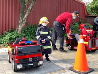 防災宣導 八德消防出動小消防車發水袋