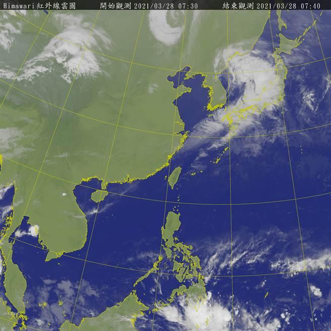 未來10天台灣西半部幾無降雨,僅清明連假第3天有微弱鋒面掠過,北海岸、北部山區、東半部有局部短暫雨。(氣象局)