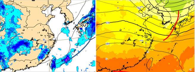 左圖為4月4日清明節當天微弱鋒面掠過(黑線),迎風面有雨。同時500百帕高空圖(右圖)顯示,高空槽(紅線)偏弱且偏北,代表其結構為大氣底層的微弱鋒面。(翻攝自「三立準氣象· 老大洩天機」)