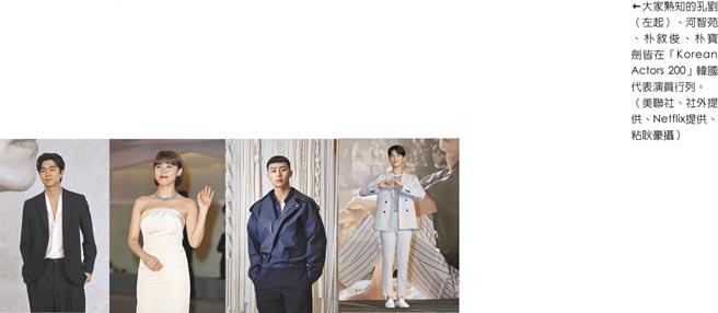 大家熟知的孔劉(左起)、河智苑、朴敘俊、朴寶劍皆在「Korean Actors 200」韓國代表演員行列。(美聯社、社外提供、Netflix提供、粘耿豪攝)