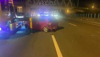 國4神岡段4車追撞 1車嚴重變形4人輕傷送醫