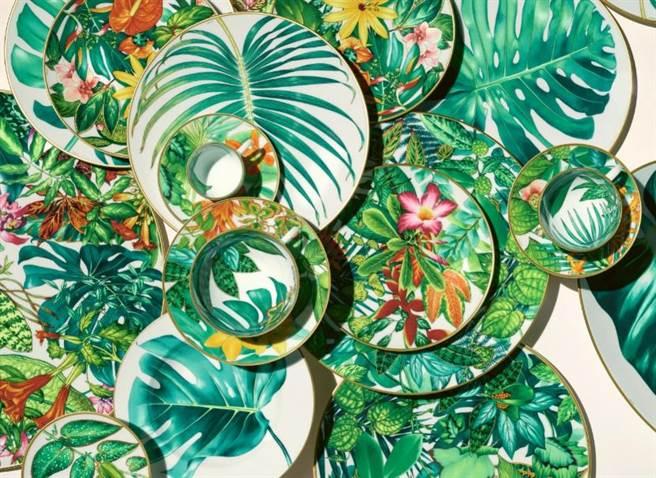 HERMES PASSIFOLIA餐瓷,3800元至5萬4180元。(BELLAVITA提供)