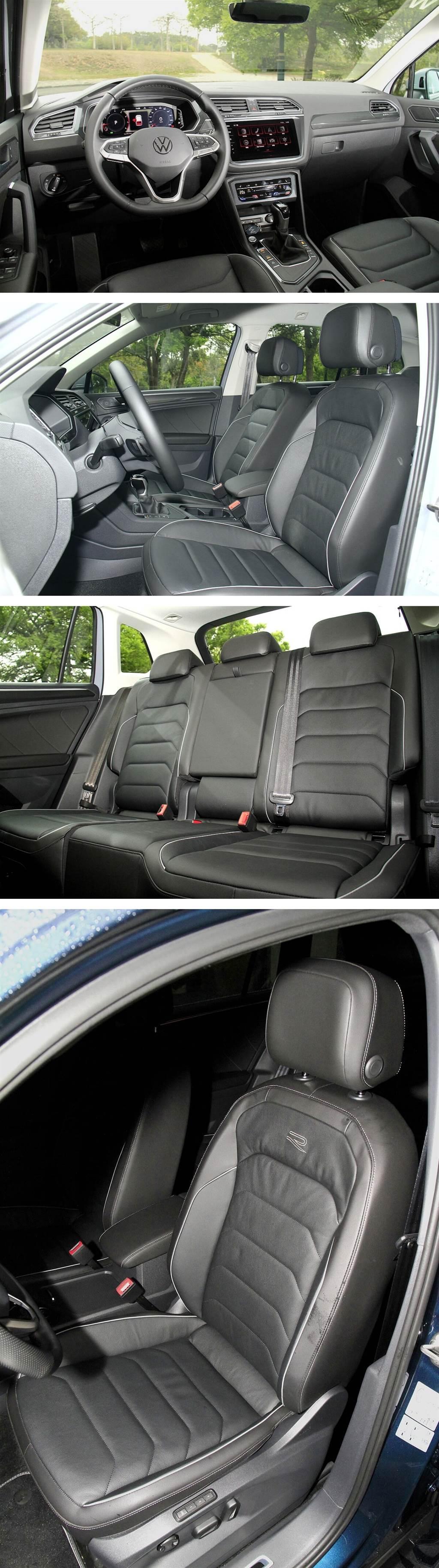 Tiguan 380 TSI R-Line Performance與280 TSI Elegance都是配置相同的Vienna運動型真皮座椅,但前者特別加上了全新設計的「R」標誌。
