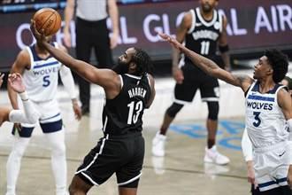 NBA》哈登大三元籃網獵捕灰狼 落後七六人半場勝差