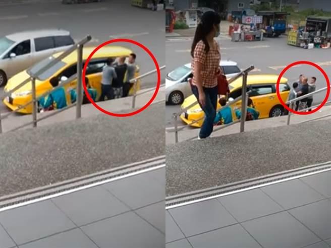 桃園埔心火車站今(31)日發生1起白牌司機與小黃司機為爭搶客人、大打出手事件。(圖/翻攝自爆料公社)