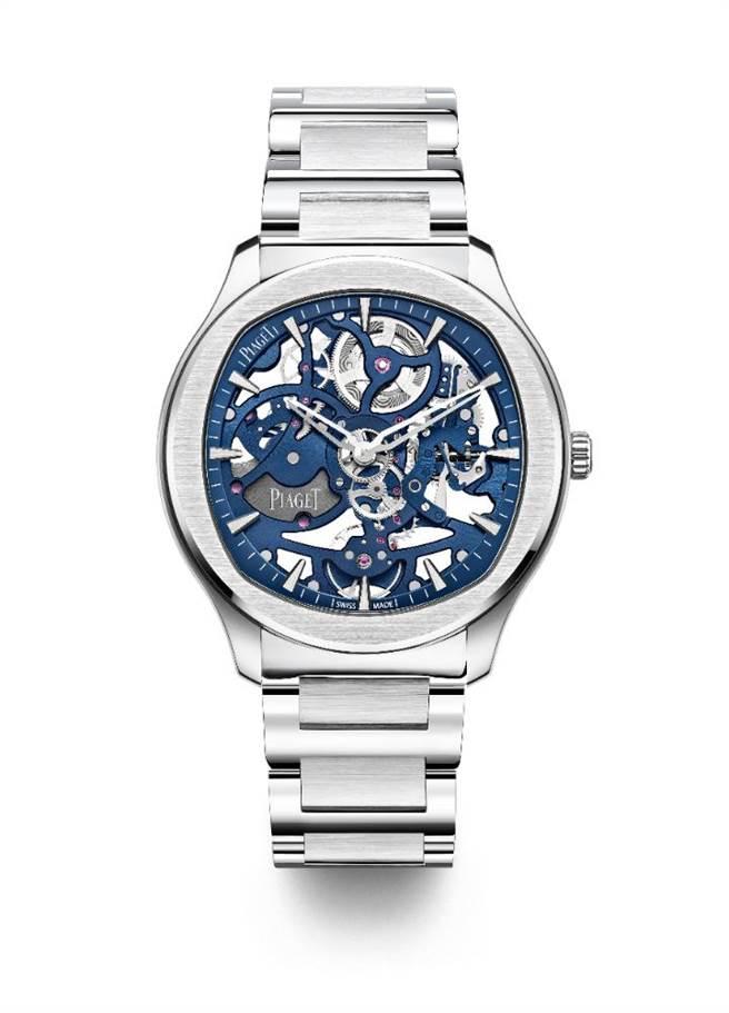 伯爵Polo系列伯爵藍鏤空超薄精鋼腕表。(PIAGET提供)