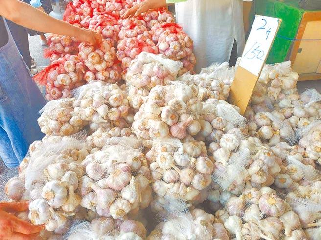 雲林縣農業處推估國內大蒜供需應可達平衡,呼籲農民勿信謠言搶售。(張朝欣攝)