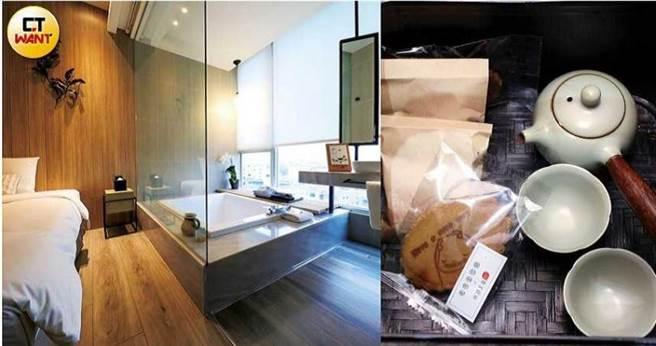每個房間都提供原片茶葉及與台南連得堂合作的手工煎餅,作為房客休憩時的茶水點心。(圖/王永泰攝)