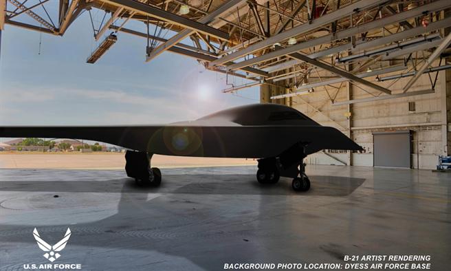 部分專家認為,RQ-180的外型酷似美國國防承包商諾斯洛普格魯門(Northrop Grumman)的B-21戰略轟炸機,圖為B-21的示意圖。(諾斯洛普格魯門/美國空軍)