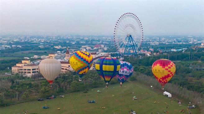 麗寶熱氣球夢想節空拍照。(麗寶樂園渡假區提供/王文吉台中傳真)